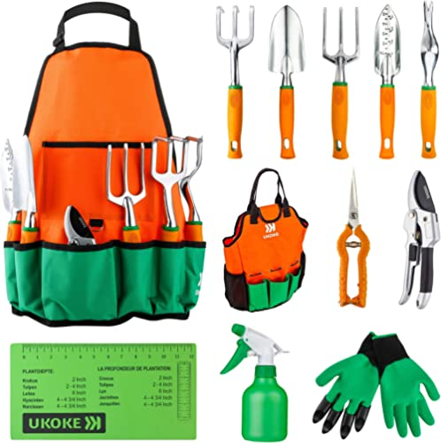 UKOKE Garden Tool Set, 12 Piece Aluminum Hand Tool Kit, Garden Canvas Apron with Storage Pocket, Outdoor Tool, Heavy ...