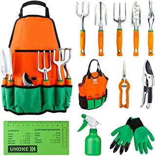 UKOKE Garden Tool Set, 12 Piece Aluminum Hand Tool Kit, Garden Canvas Apron with Storage Pocket, Outdoor Tool, Heavy Duty ...