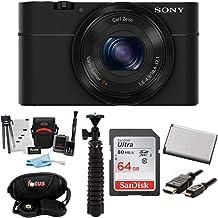 Sony Cyber-Shot DSC-RX100 Digital Camera with 10-Inch Spider Tripod and 64GB SDXC Accessory Bundle (Black)
