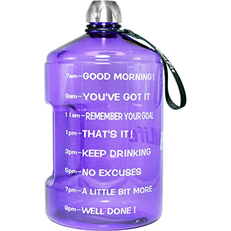 Bodybuilding SLUXKE 3.78L// 2.2L Litre Large Water Bottle with Time Marker BPA Free Leak Proof and Durable Ideal for Gym Hiking /& Office Outdoor Sports