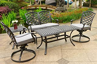 Aurora 5 Piece Outdoor Seating Set (Cast Slate Sunbrella Cushions