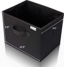 Collapsible File Storage Box 12.5 x 9.5 x 9.5 Holds Hanging File Folders and Letter Size Files. Fits on Shelf or in Many Drawers. 2 Color Choices (Classic Black, White Sand)