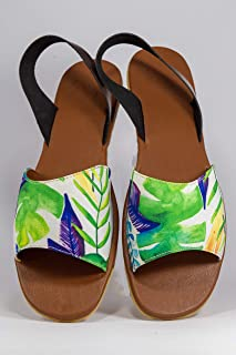 AESCA Womens Laya Slingback Sandals Handmade Genuine Leather Flats Summer Shoes