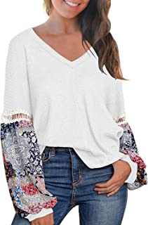Best white contrast lace long sleeve loose blouse Reviews