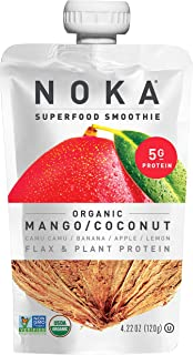NOKA Superfood Pouches (Mango Coconut) 12 Pack | 100% Organic Fruit And Veggie Smoothie Squeeze Packs | Non GMO, Gluten Fr...