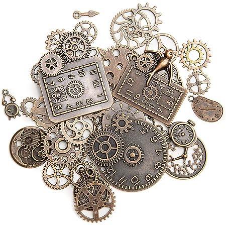 KIMI-HOSI 40 Pièces Vintage Steampunk Engrenages Metal Gears Horloge Montre Roues Pendentif Charms Gears Bijoux de Bricolage pour Décorer les Bracelets Collier Chapeau Sac Kunsthandwerk