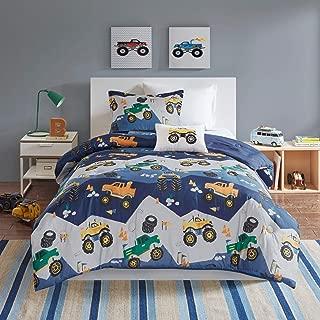 MISC 3 Piece Blue Monster Truck Comforter Twin Set Monster Jam Bedding Pick Up Vehicle Mountain Hill Pylon Themed Pattern Green, Microfiber