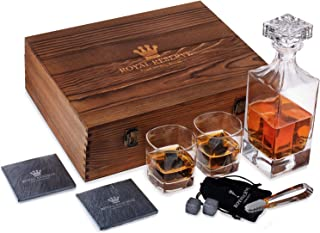 Whiskey Decanter Gift Set | Husband Birthday Gifts Artisan Crafted Chilling Rocks Stones Scotch Bourbon Glasses and Slate ...