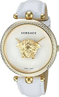 Versace Women's Palazzo Empire Yellow Gold Swiss-Quartz Watch with Leather Calfskin Strap, White, 16 (Model: VCO040017)