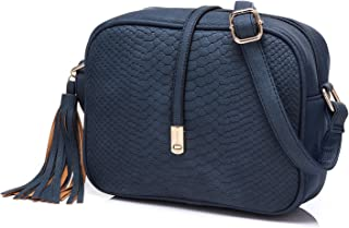 Realer Cross Body for Women Small Shoulder Bags PU Leather Side Purse (Navy)