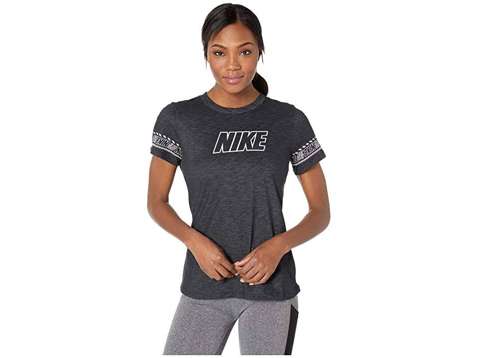 Nike Dry Dri-FIT Cotton Brand Slub Tee (Black/Heather) Women