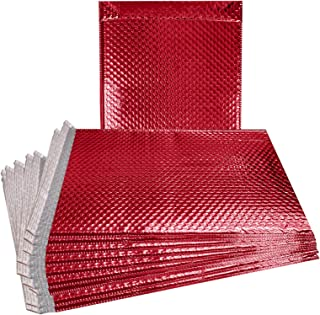 ABC 10 Pack Red Bubble mailers 6.5 x 10.5 DVD size Metallic Padded Envelopes 6 1/2 x 10 1/2 Glamour Bubble Mailers. Peel and Seal. Padded Mailing Envelopes for Shipping, Packing, Packaging. Wholesale