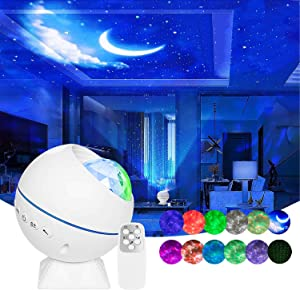 Star Projector 3 in 1 Galaxy Projector Wurkkos Ocean Wave LED Starry Night Light Built-in Sound Sensor Projector Lamp with Remote & Magnetic Bracket for Automobile Interior/Home Theatre/Christmas Gift