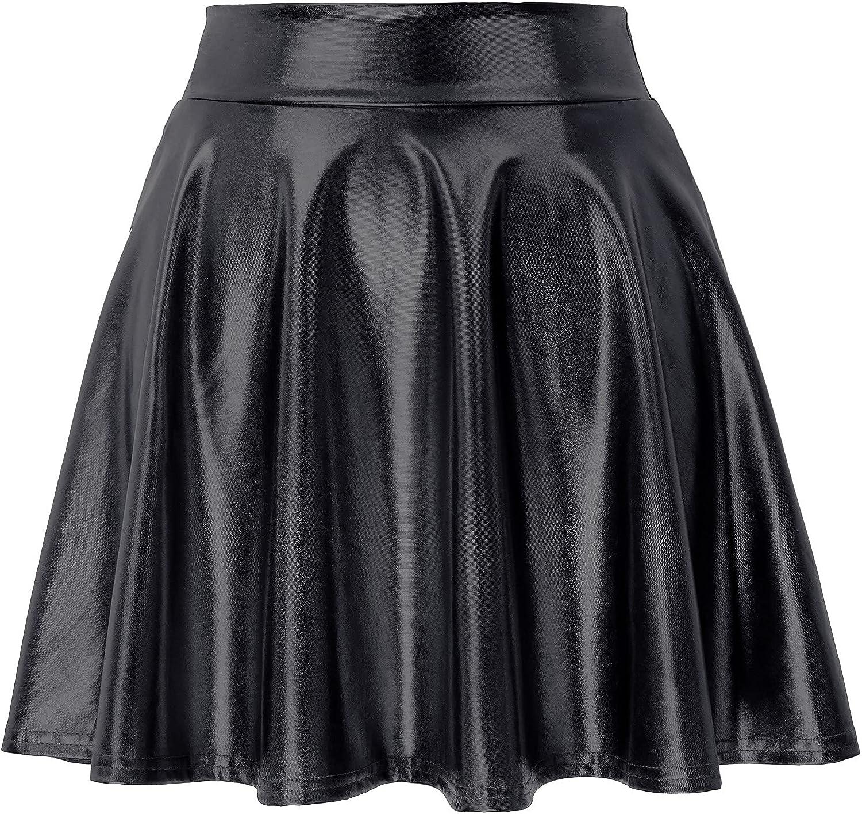 Kate Kasin Women's Shiny Metallic Skater Skirt Fashion Flared Mini Skirt