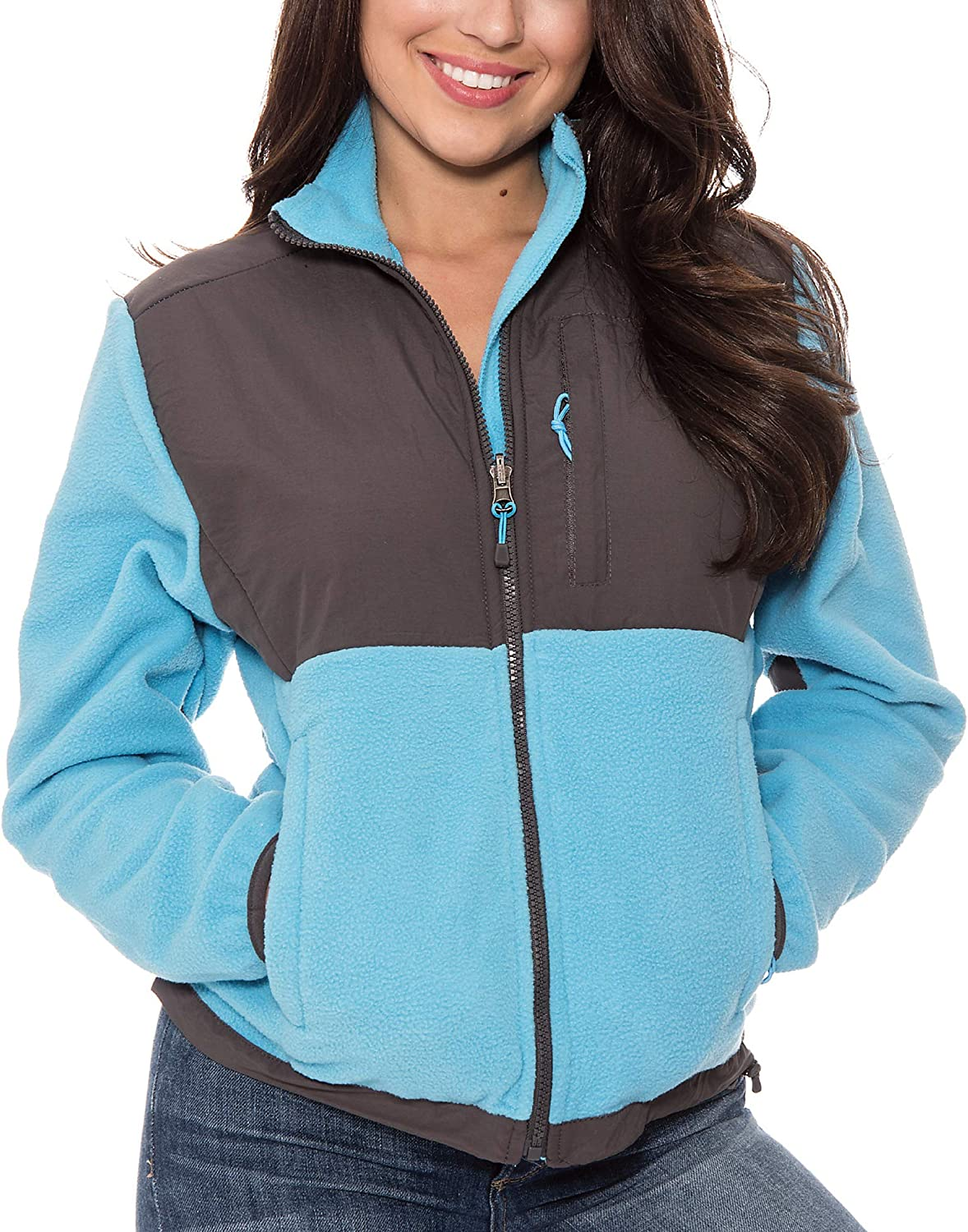APPARELISM Women's Girl's Casual Warm Fleece Jacket with Pockets for Recreation, Work-Out and Lounge.