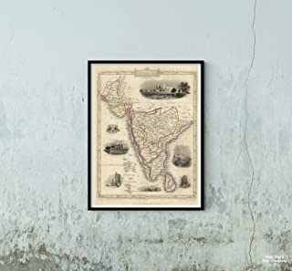 Map|World Atlas, Southern India Including The Presidencies of Bombay & Madras. 1851|Vintage Fine Art Reproduction|Size: 18x24|Ready to Frame