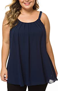 MANER Women's Plus Size Cami Casual Pleated Chiffon Tank Top with Beaded Strap