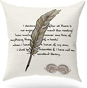 ForbiddenPaper Jane Austen Book Quote Pride and Prejudice Pillow Covers,Cotton Linen Pillow Inspirational Gifts for Book Lover/Bookworm/Teens/Men/Women/Friends Square 18x18 inch Decorative Pillow