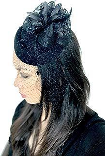 Z&Co Fascinator Hat for Women Tea Party Kentucky Derby Wedding Veil Hairclip Headband