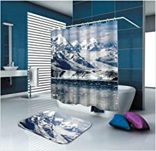 AMDXD Bathroom Set Curtain Mats Accessories Iceberg White Shower Curtain Polyester Waterproof Bathroom Floor Mats 150x200CM