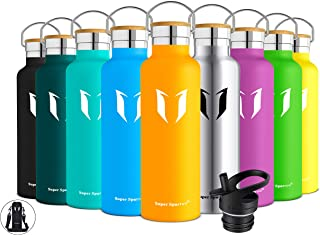Super Sparrow Stainless Steel Vacuum Insulated Water Bottle, DStandard Mouth -350ml-620ml- 500ml & 750ml & 1L - BPA Free - with 2 Exchangeable Caps + Bottle Pouch