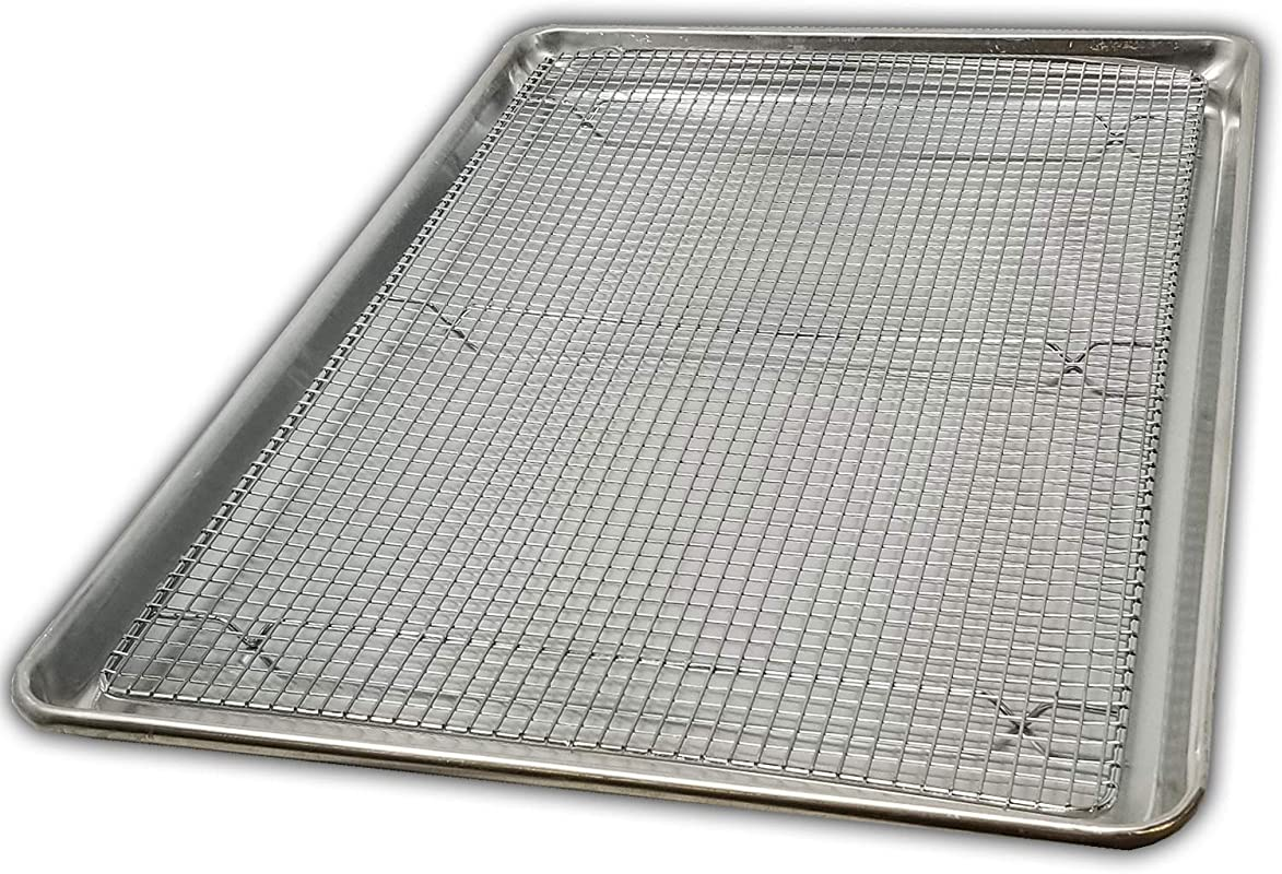 Cookie Sheet Pan And Cooling Baking Rack 18 X 26 Full Size Set Sheets Tray Is Nonstick Heat Resistant For High Temperature Cooking For Commercial Use Only