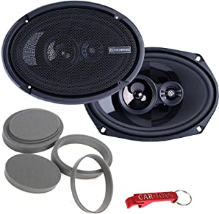 """$129 » Memphis Audio PRX6903 6"""" x 9"""" (6x9) 3-Way 60 Watts RMS / 120 Peak Power Reference Coaxial Speakers Bundle with Fast Rings ..."""