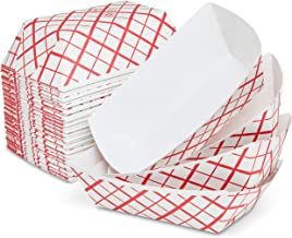 The Candery Hot Dog Accessories Set- 100 Red/White Hot Dog Trays for Carnivals, BBQs, Picnics, Concession Stands (Trays)