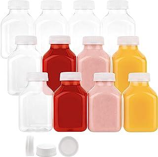 زجاجات بلاستيكية للاستعمال مرة واحدة سعة 8 اونصة مع اغطية، 12 عبوة، للماء وعصير الليمون والتفاح والبرتقال والحليب والمخفوق...