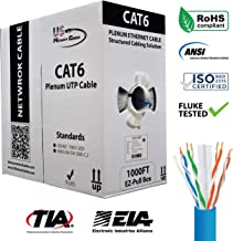Cat6 Plenum 1000FT 550MHz Solid Bulk UTP 23AWG Network Cable Blue, US Network Cables