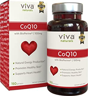 Viva Naturals CoQ10 Supplement with BioPerine (100mg) - 150 Softgels
