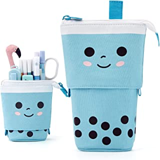 ANGOOBABY Cute Pencil Case Standing Pen Holder Telescopic Makeup Pouch Pop Up Cosmetics Bag with Kawaii Smile Face Station...