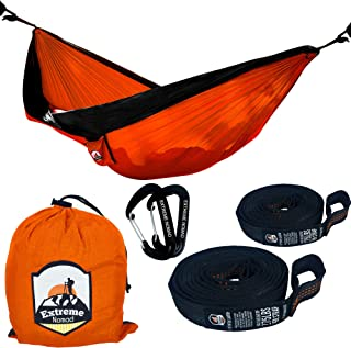 Double Parachute High-end Travel Camping Hammock with 9 foot Premium Tree Straps with 15+1 Loops and Wire Gate Carabiners
