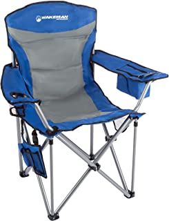 Wakeman Outdoors Heavy Duty Camp Chair-850lb High Weight Capacity Big Tall Quad Seat-Cup Holder, Cooler, Carrying Bag-Tailgating, Camping, Fishing (Renewed)