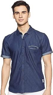 CHEROKEE Men's Solid Regular fit Casual Shirt (400018130179_Blue-Ss S)