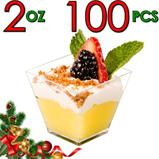 DLux 100 x 2 oz Mini Dessert Cups (No Spoons), Square Short - Clear Plastic Parfait Appetizer Cup - Small Disposable Reusable Serving Bowl for Tasting Party Desserts Appetizers - With Recipe eBook