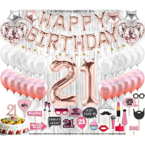 21st Birthday Decorations With Photo Props