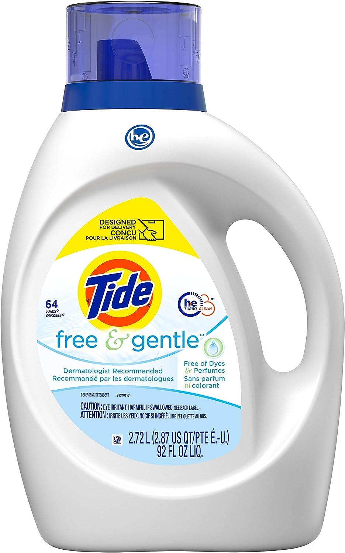 Tide Free & Gentle Liquid Laundry Detergent, 64 loads, 92 fl oz, HE Compatible : Everything Else