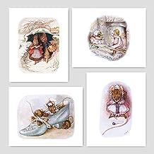 Peter Rabbit Prints (Nursery Art Girls, Beatrix Potter Wall Decor) Unframed 5x7 – Set of 4
