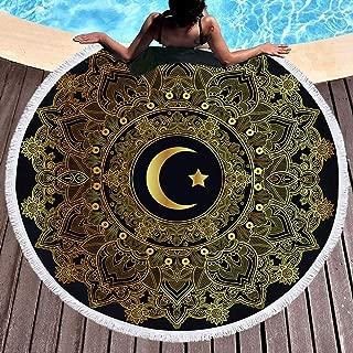QCWN Celestial Mandala Beach Towel,Mandala Galaxy Moon Star Beach Towels Round Beach Towel Large Beach Roundie Black Neon Towels Gypsy Round Yoga Mat with Tassel.Black Gold