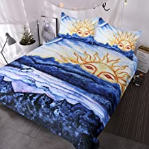 BlessLiving Abstract Costal Beach Duvet Cover Morning Sun Over Ocean Oil Painting Bedding 3 Piece Blue White Natural Inspired Bed Set Queen