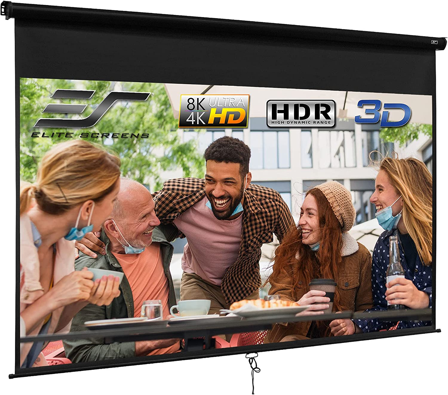 Elite Screens Manual B, 120-INCH, Manual Pull Down Projector Screen 4K / 8K Ultra HDR 3D Ready with Slow Retract Mechanism, 2-YEAR WARRANTY, M120X, 16:10, black