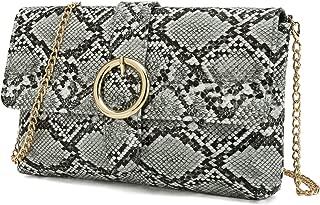 Snake Clutch Purse with Wrist Strap PU Python Clutch Dress Handbag