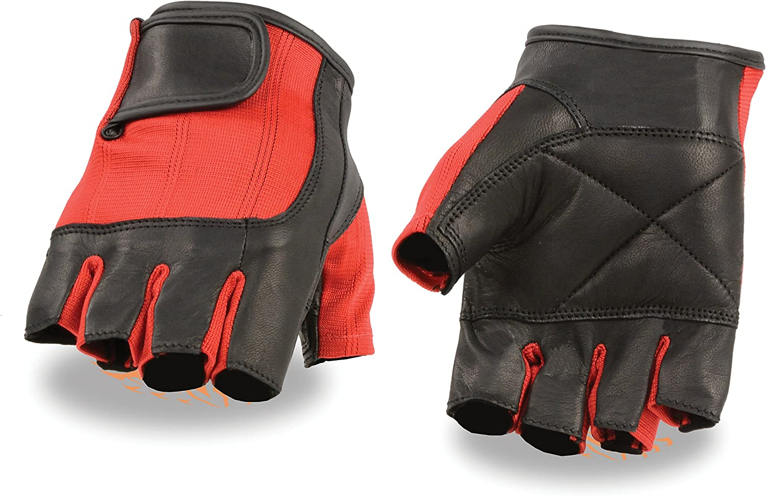 Insane Bikers - At the price Men's Leather Fingerless Gloves Combo Red Mesh Raleigh Mall