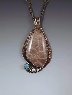 Michigan Petoskey Stone and Amazonite Pendant- Smoky Bronze Patina- Michigan Made- State Stone- Fossil- Metal Art Petoskey Necklace