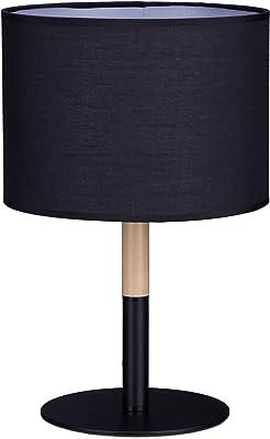 Relaxdays Lampe de chevet lampe de table vintage abat-jour tissu forme cylindre retro moderne HxlxP: 40 x 25 x 25 cm, noir