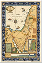MAP of HOLY LAND showing historical boundaries, roads, railways and places named in the New Testament - circa 1923 - measures 24