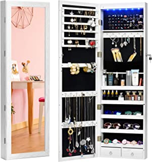TWING Jewelry Armoire Jewelry Organizer Wall Mounted Lockable 6 LEDs Wall Mounted Jewelry Armoire with Mirror 3 Drawers Door Large Jewelry Armoire Cabinet (White)