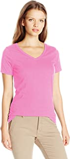 French Toast Junior's Juniors Short Sleeve V-Neck Tee, Rosy Glow, L