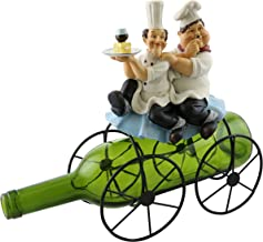 Kitchen Decorative Laurel & Hardy Chefs With Wine Glass on Bicycle Metal Wine Bottle Holder
